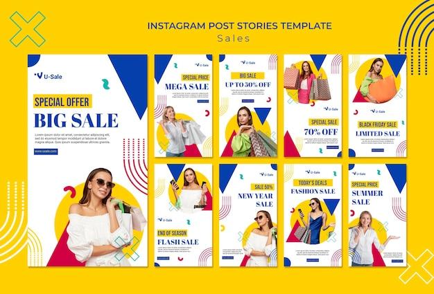 Histórias de super venda de moda no instagram