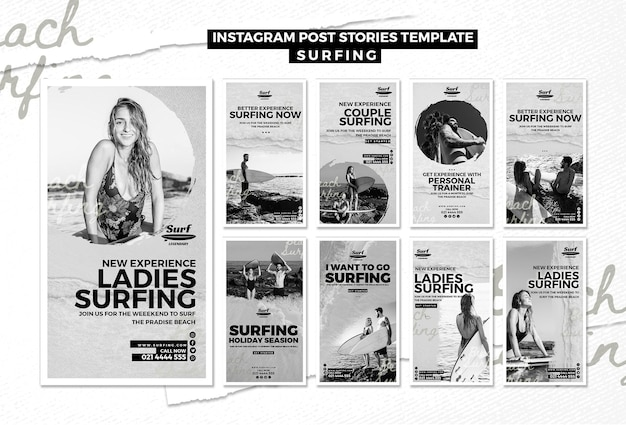 Histórias de surf no instagram