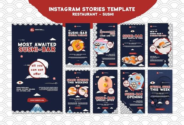 Histórias de sushi nas redes sociais