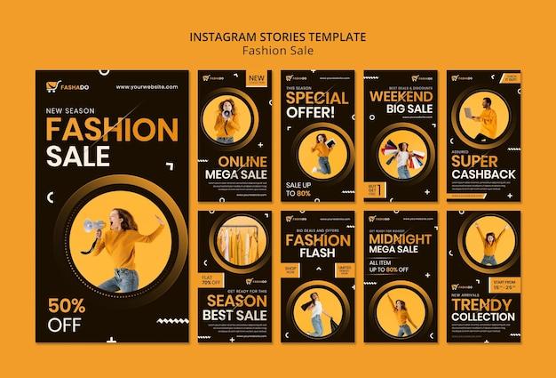 Histórias de venda de moda no instagram