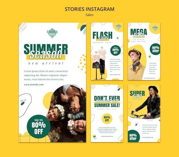 Histórias de vendas de moda na mídia social