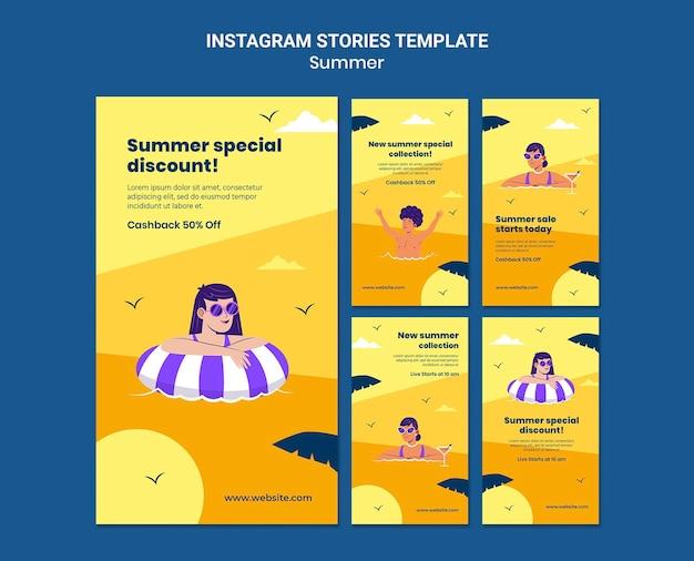 Histórias de vendas de verão na mídia social