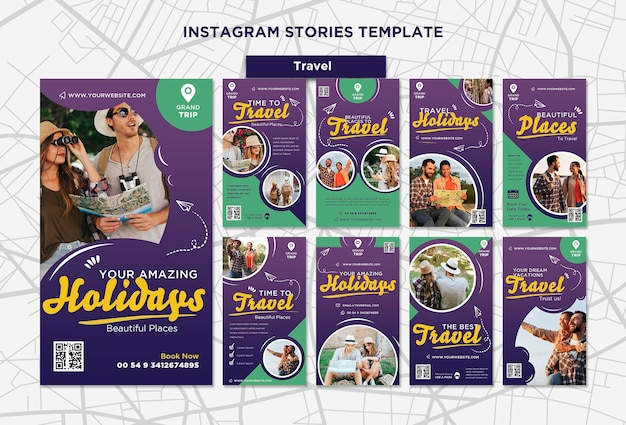 Histórias de viagens nas redes sociais com foto