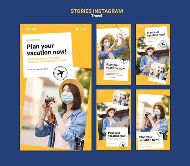 Histórias de viagens nas redes sociais com fotos