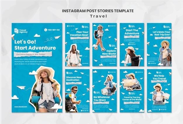 Histórias de viagens nas redes sociais