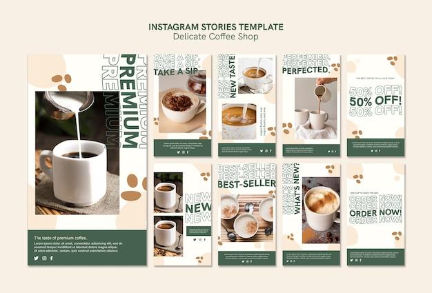 Histórias delicadas do instagram da cafeteria