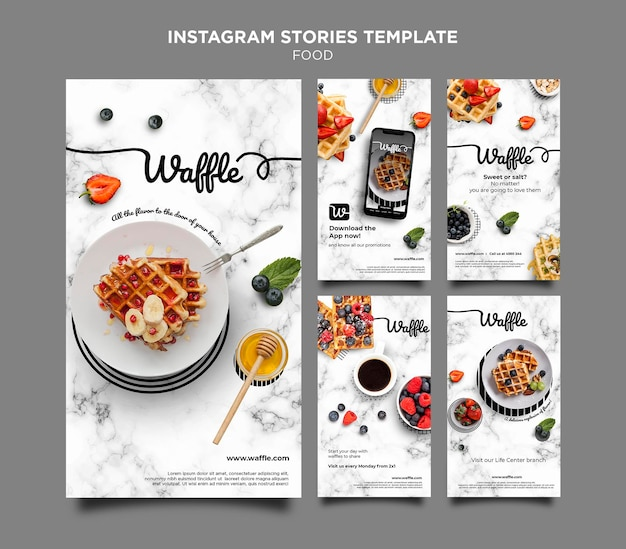 Histórias deliciosas de comida no instagram Psd Premium