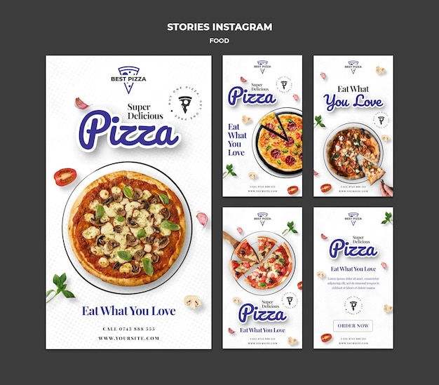 Histórias deliciosas de pizza no instagram
