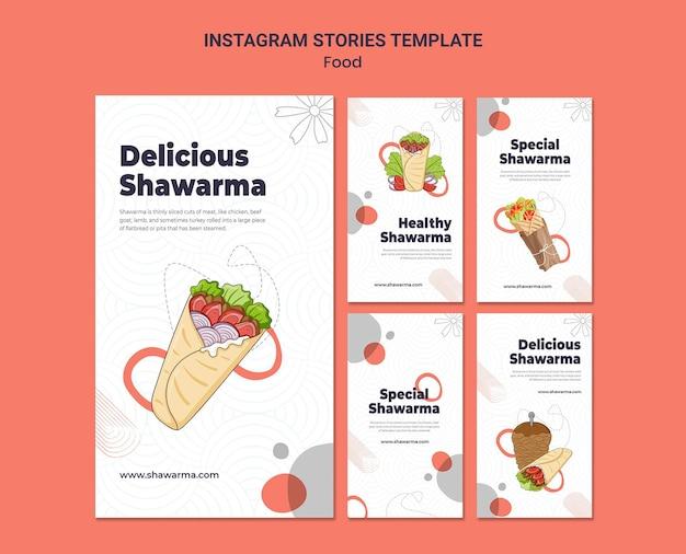 Histórias deliciosas de shawarma no instagram