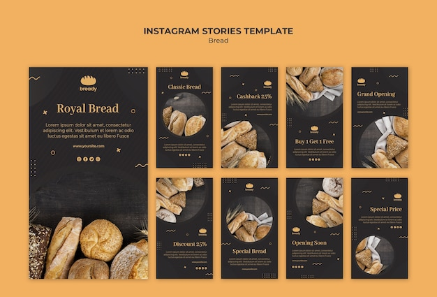 Histórias deliciosas do instagram da loja de padaria