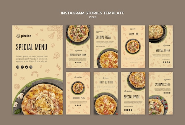 Histórias deliciosas do instagram de pizza