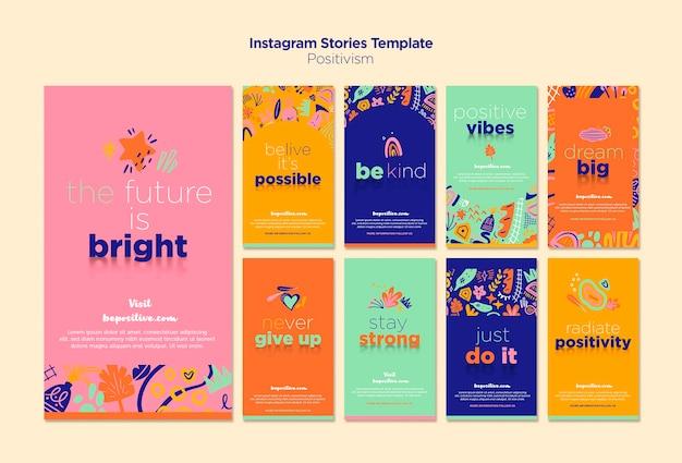 Histórias do instagram com o conceito de positivismo