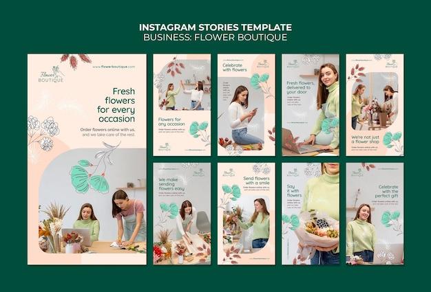 Histórias do instagram da boutique de flores