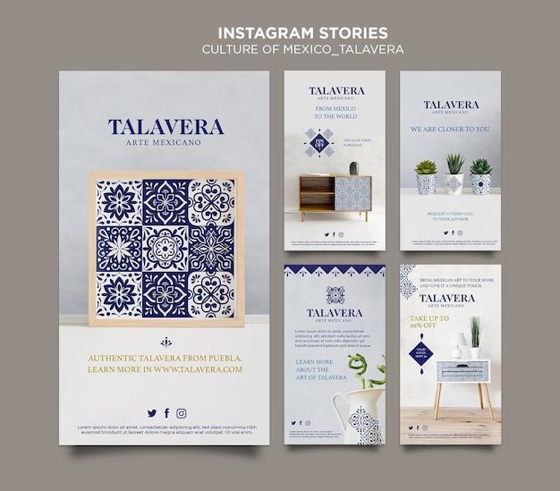 Histórias do instagram da cultura mexicana talavera