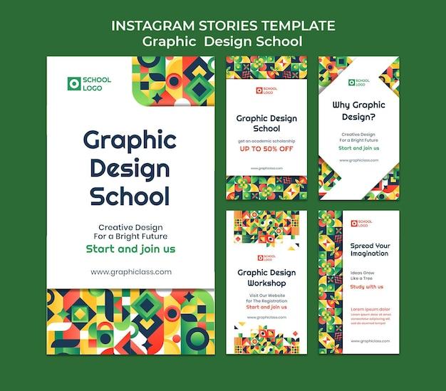 Histórias do instagram da escola de design gráfico