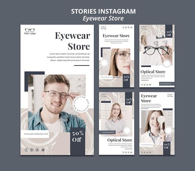 Histórias do instagram da loja de óculos