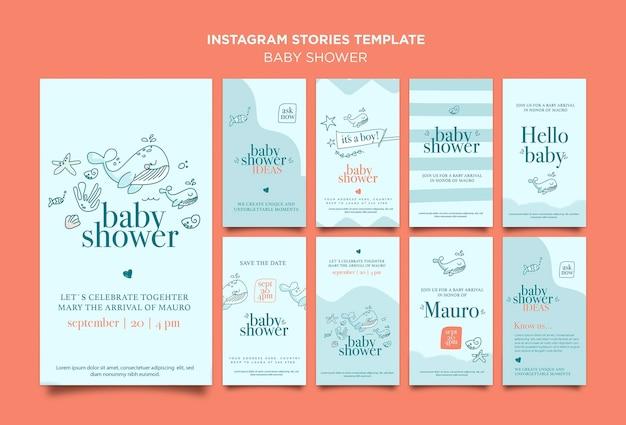 Histórias do instagram de comemoração do chá de bebê