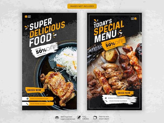 Histórias do instagram de comida de restaurante