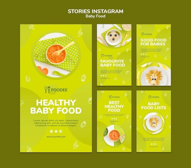Histórias do instagram de comida para bebê
