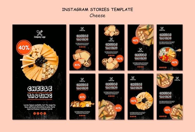 Histórias do instagram de degustação de queijo