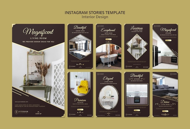Histórias do instagram de design de interiores