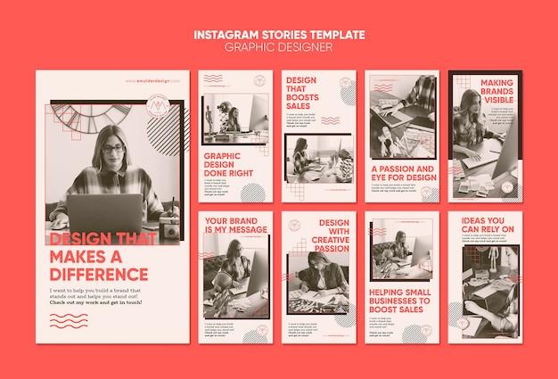 Histórias do instagram de designer gráfico