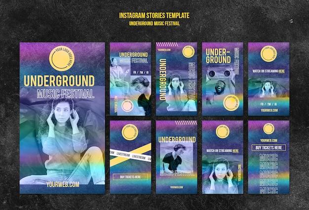 Histórias do instagram de festivais de música underground