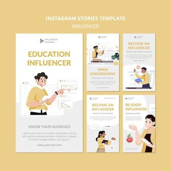 Histórias do instagram de influenciadores de educação
