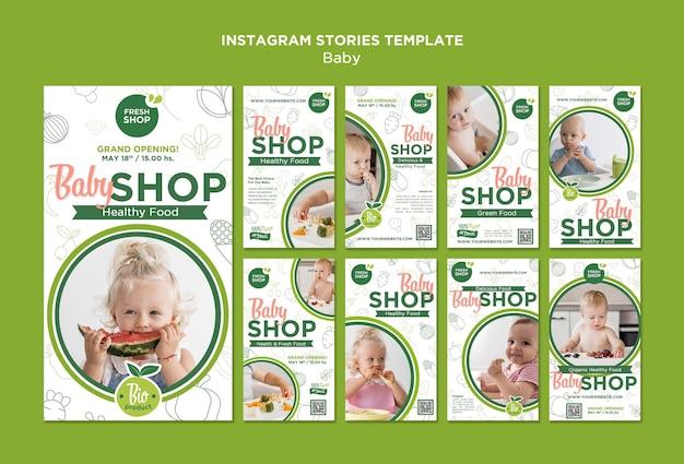Histórias do instagram de loja de comida para bebê