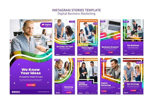 Histórias do instagram de marketing empresarial digital