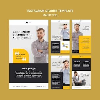 Histórias do instagram de marketing empresarial