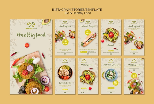 Histórias do instagram de modelo de alimentos saudáveis e bio