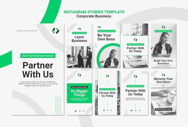 Histórias do instagram de negócios corporativos