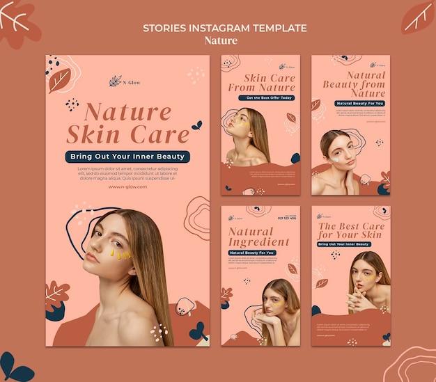 Histórias do instagram de produtos naturais para a pele