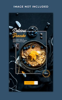 Histórias do instagram de promoção de menu de comida saudável modelo de banner