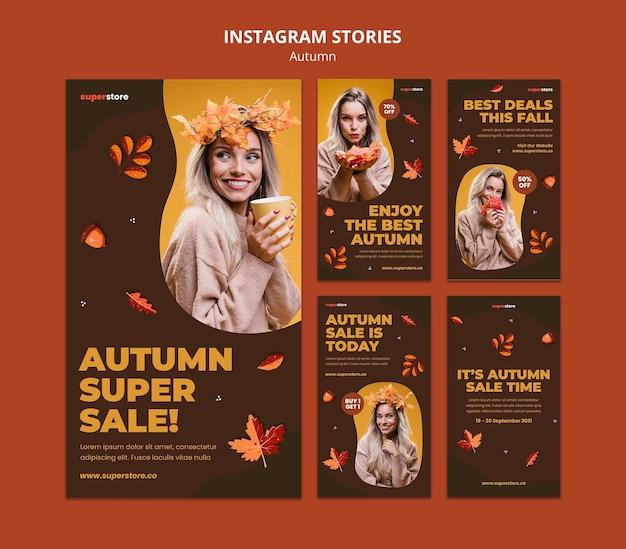 Histórias do instagram de promoções de outono