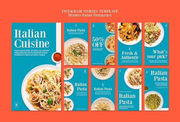 Histórias do instagram de restaurante italiano moderno