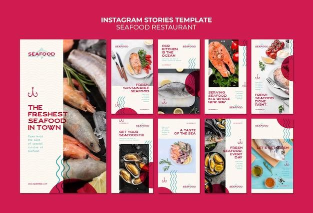 Histórias do instagram de restaurantes de frutos do mar
