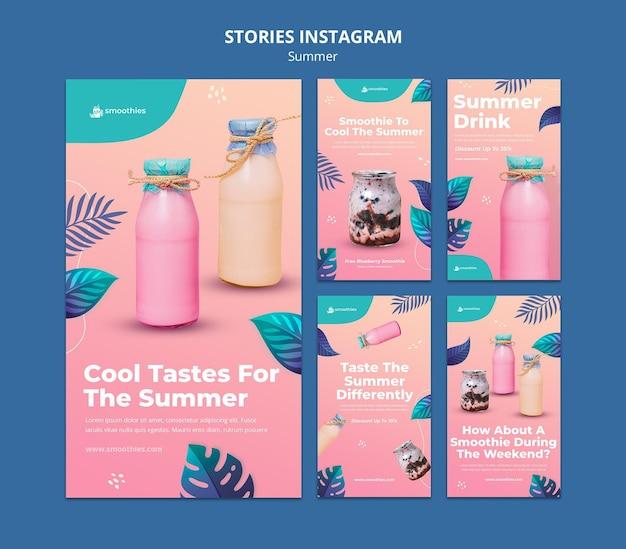Histórias do instagram de smoothie de verão