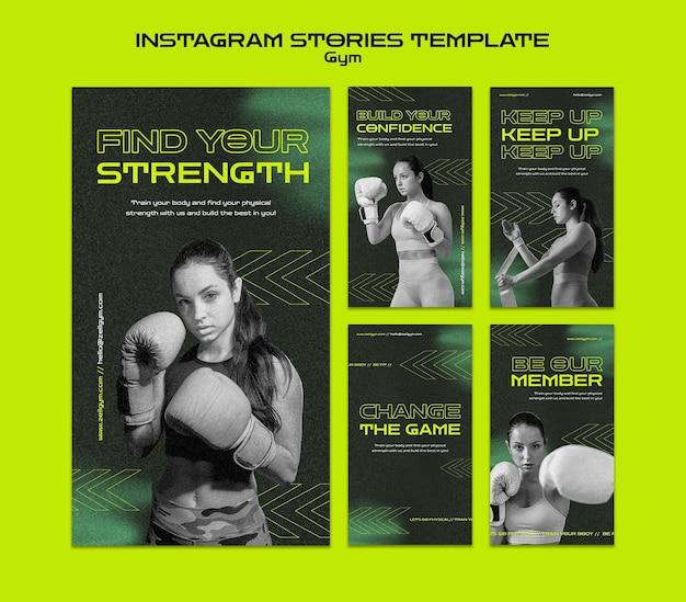 Histórias do instagram de treino de ginásio Psd Premium