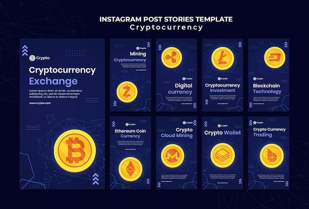 Histórias do instagram de troca de criptomoedas