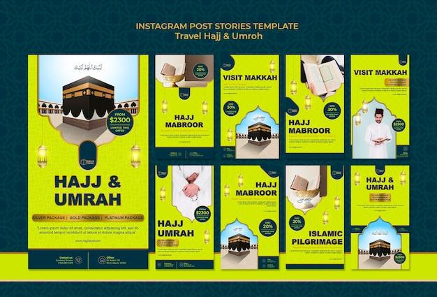 Histórias do instagram de viagens hajj e umrah