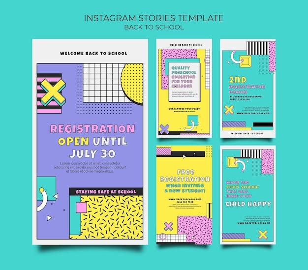 Histórias do instagram de volta às aulas