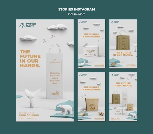 Histórias do instagram do ambiente