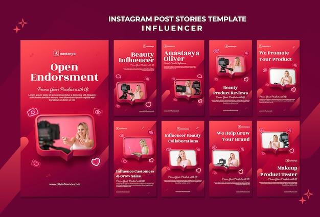 Histórias do instagram do conceito de influenciador