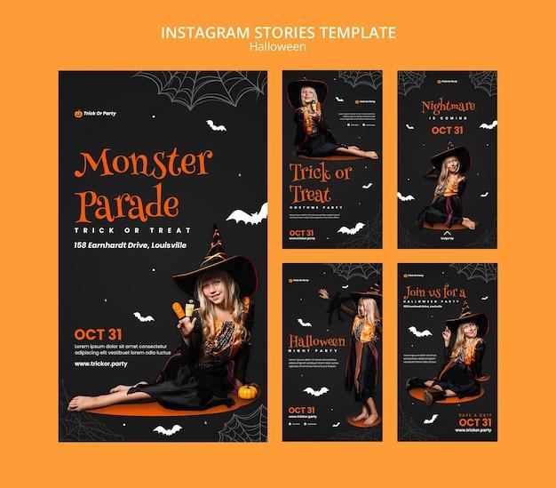 Histórias do instagram do desfile de monstros do halloween