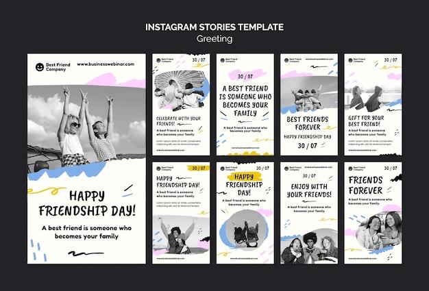 Histórias do instagram do dia da amizade feliz