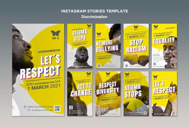 Histórias do instagram do dia de discriminação zero