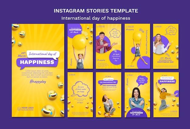 Histórias do instagram do dia internacional da felicidade