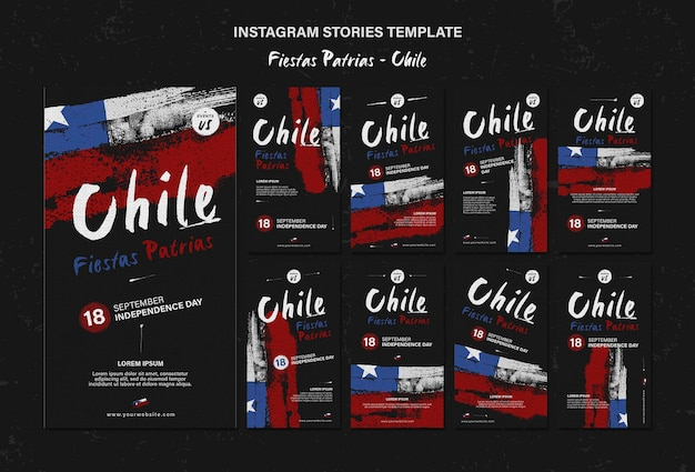 Histórias do instagram do dia internacional do chile